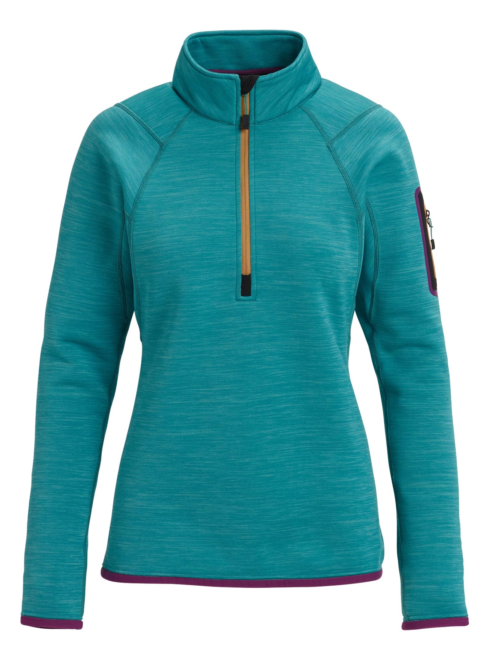 Burton [ak] Turbine fleeceskjorta med dragkedja för damer, Green-Blue Slate Heather, S