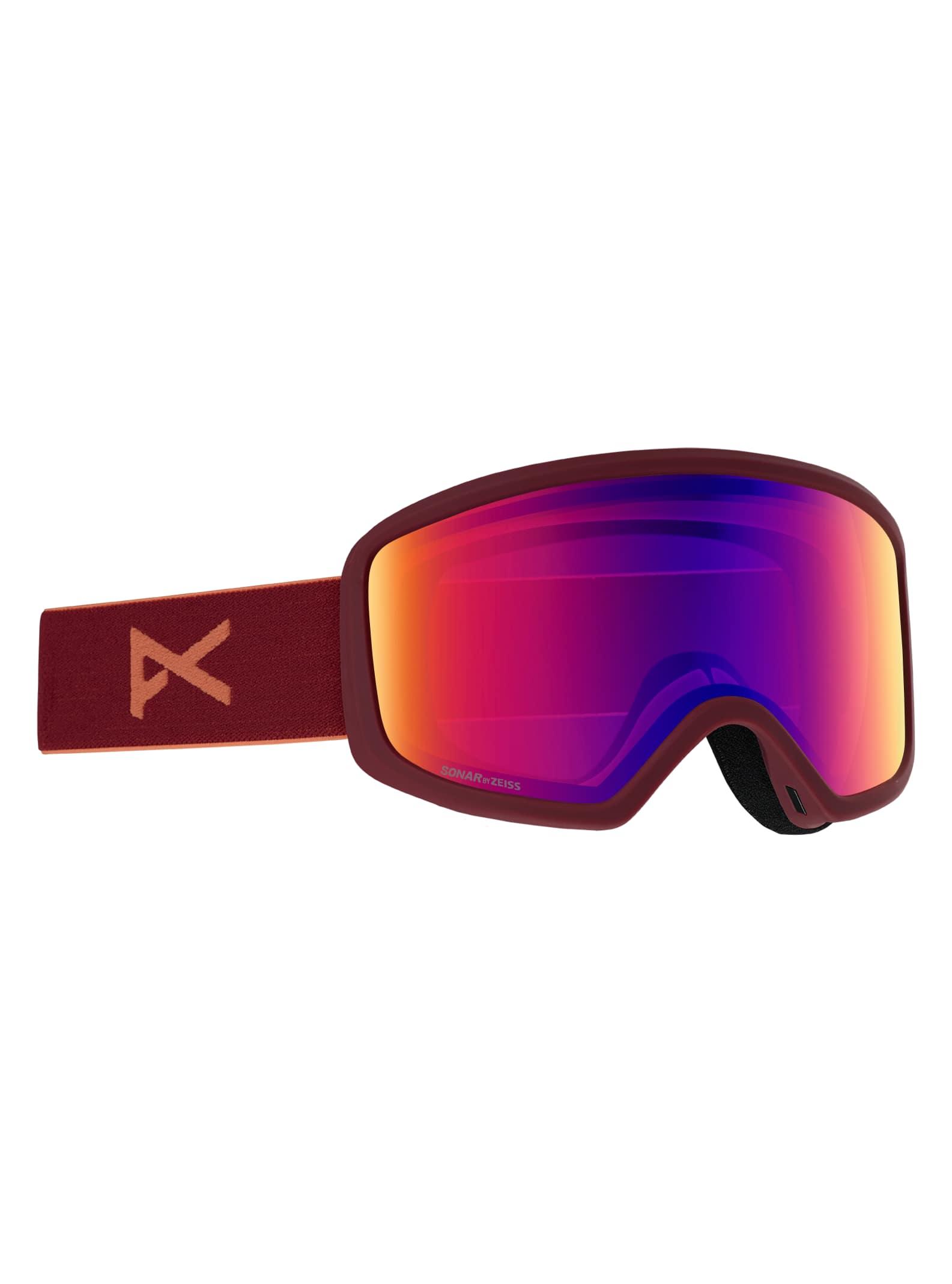 Anon Deringer skidglasögon + reservlins för damer, Frame: Ruby, Lens: SONAR Infrared Blue, Spare Lens: Amber