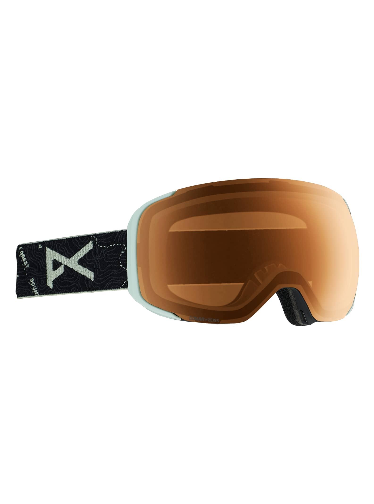Anon Men's M2 Goggle + Spare Lens, Frame: Topo Black, Lens: SONAR Night, Spare Lens: SONAR Green