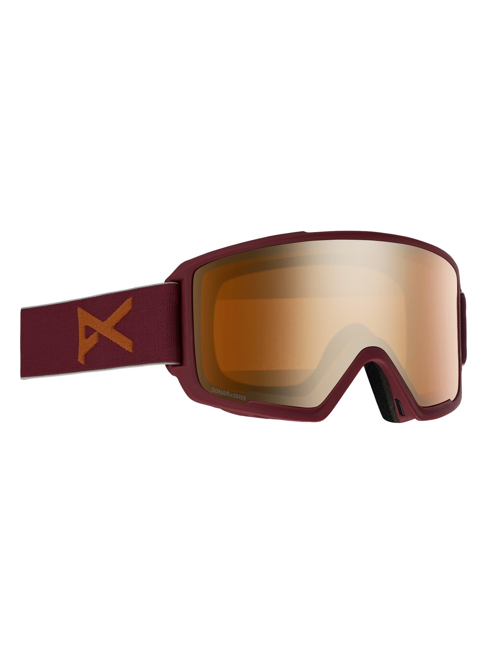Anon M3 skidglasögon + reservlins för herrar, Frame: Maroon, Lens: SONAR Bronze, Spare Lens: SONAR Infrared