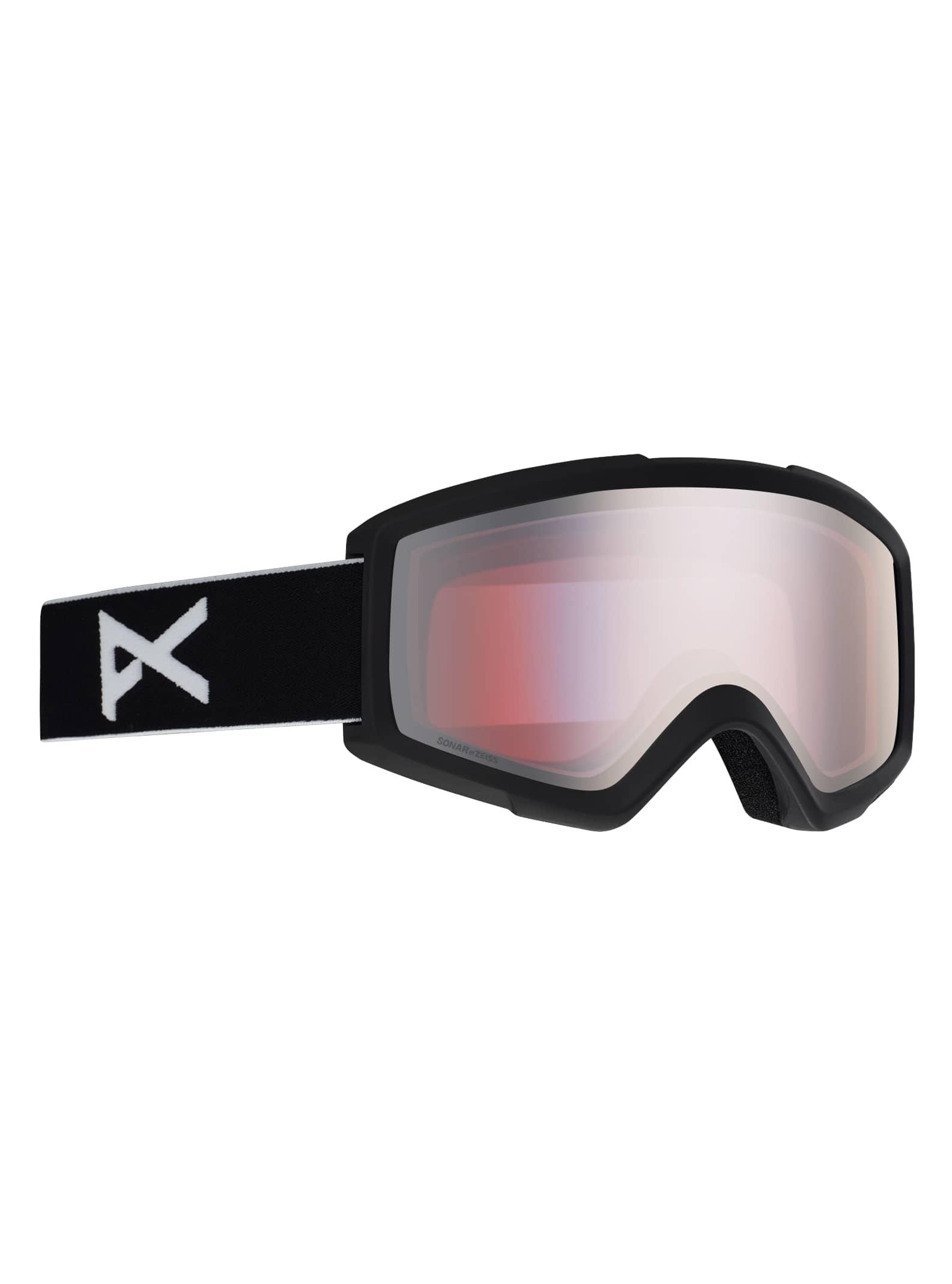 Anon Men's Helix 2.0 Sonar Goggle + Spare Lens, Frame: Black, Lens: SONAR Silver, Spare Lens: Amber