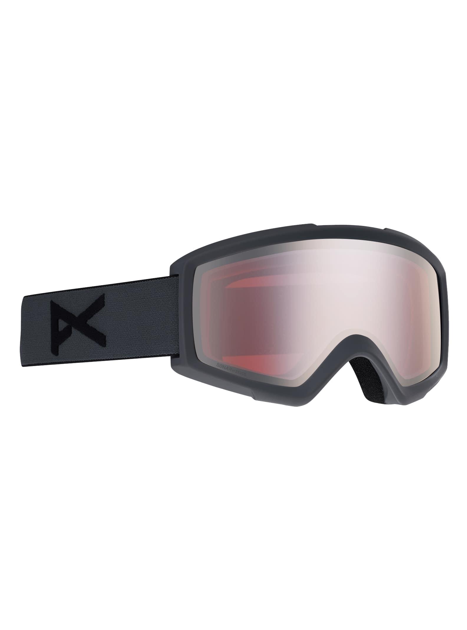 Anon Men's Helix 2.0 Sonar Goggle + Spare Lens, Frame: Stealth, Lens: SONAR Silver, Spare Lens: Ambe