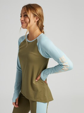 Women's Burton Roadie Base Layer Tech T-Shirt shown in Martini Olive / Ether Blue