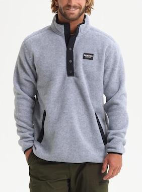 Men's Burton Hearth Fleece Pullover shown in Gray Heather