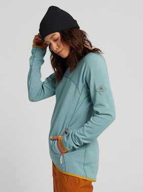 Women's Burton Minturn Crew Fleece shown in Trellis Heather