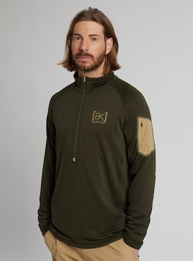 Men's Burton [ak] Helium Grid Half-Zip Fleece shown in Forest Night