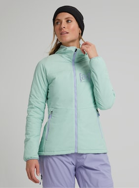 Women's Burton [ak] Helium Hooded Stretch Insulated Jacket shown in Faded Jade