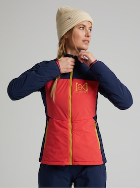 Women's Burton [ak] Helium Stretch Insulated Jacket shown in Hibiscus Pink / Dress Blue