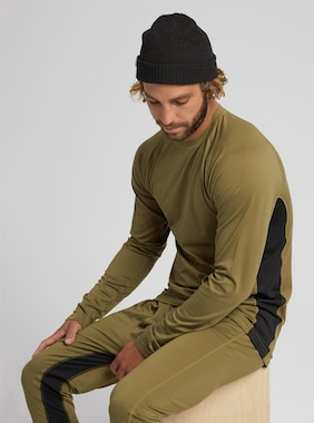 Men's Burton Midweight X Base Layer Crew shown in Martini Olive / True Black