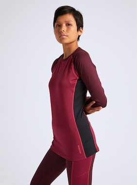 Women's Burton Midweight X Base Layer Crew shown in Port Royal / Spiced Plum