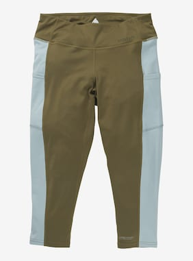 Women's Burton Midweight X Base Layer Three-Quarter Boot Pants shown in Martini Olive / Ether Blue