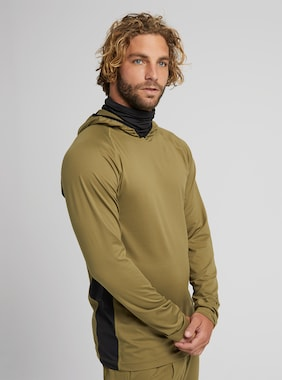Men's Burton Midweight X Base Layer Long Neck Hoodie shown in Martini Olive / True Black